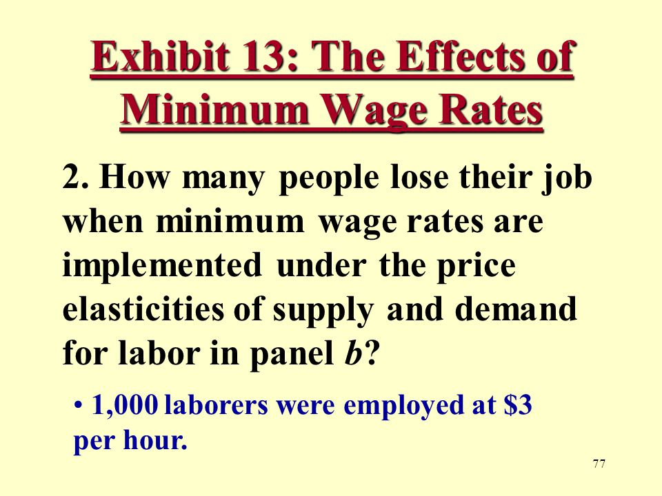 77 Exhibit 13: The Effects of Minimum Wage Rates 2.