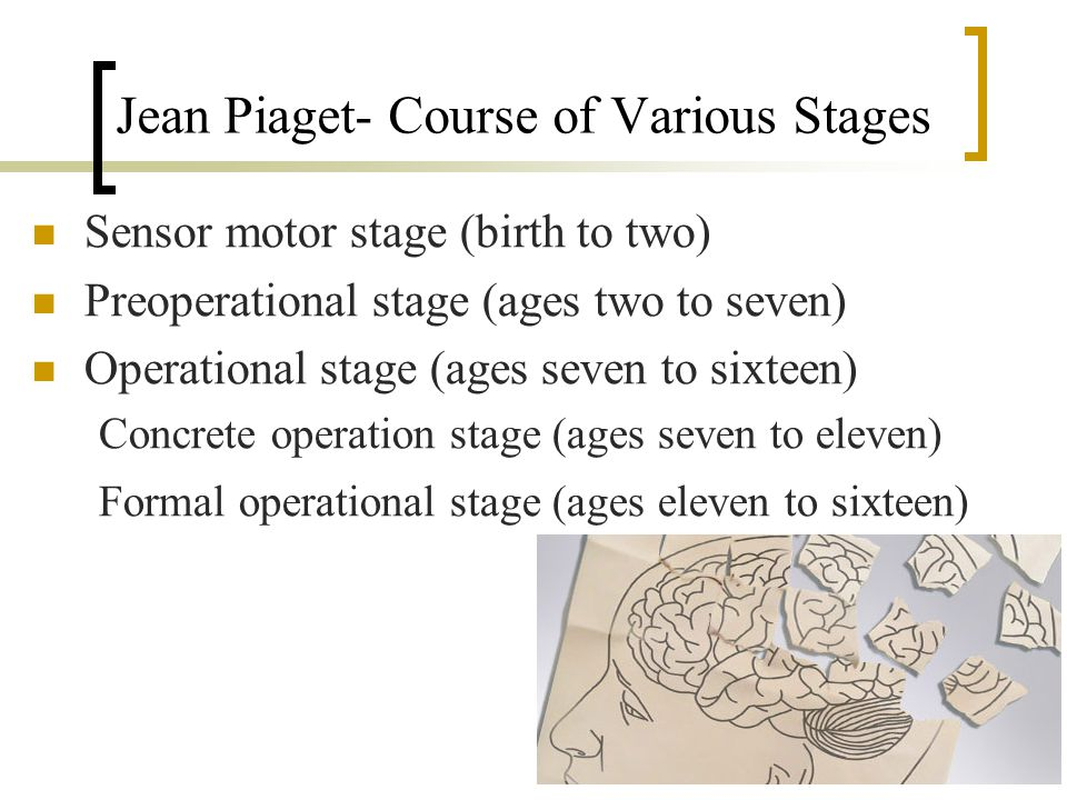 Jean Piaget- Course of Various Stages Sensor motor stage (birth to two) Preoperational stage (ages two to seven) Operational stage (ages seven to sixteen) Concrete operation stage (ages seven to eleven) Formal operational stage (ages eleven to sixteen)