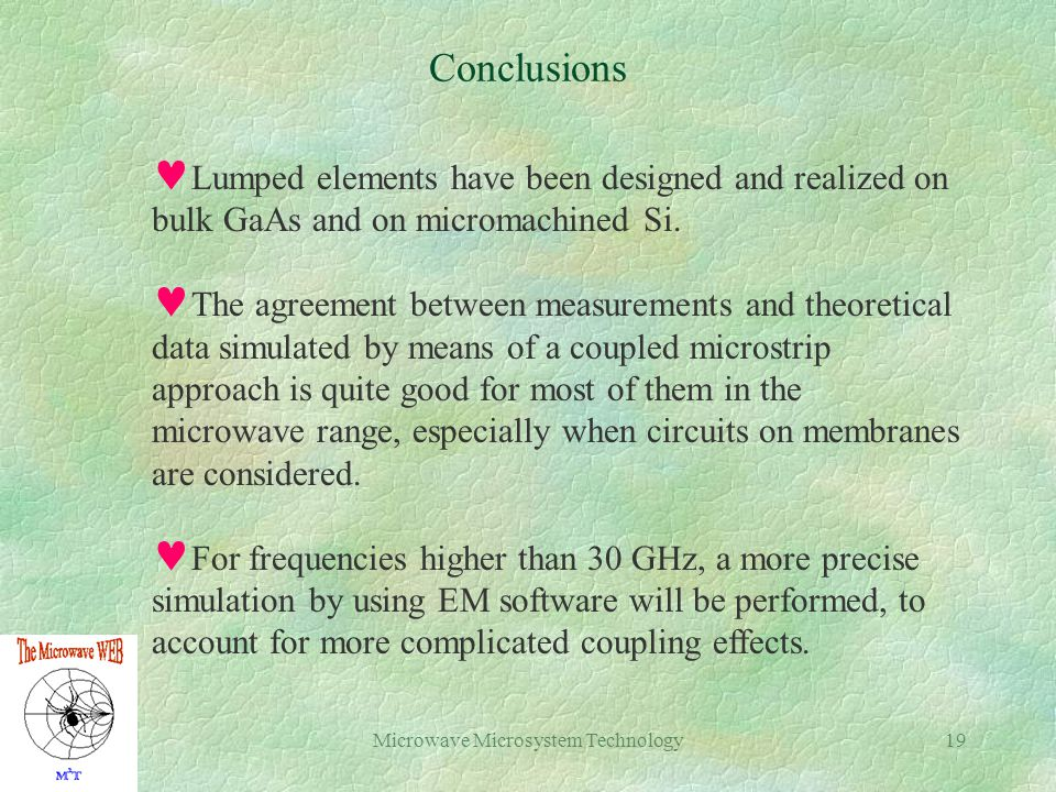 Microwave Microsystem Technology19 Conclusions Lumped elements have been designed and realized on bulk GaAs and on micromachined Si.