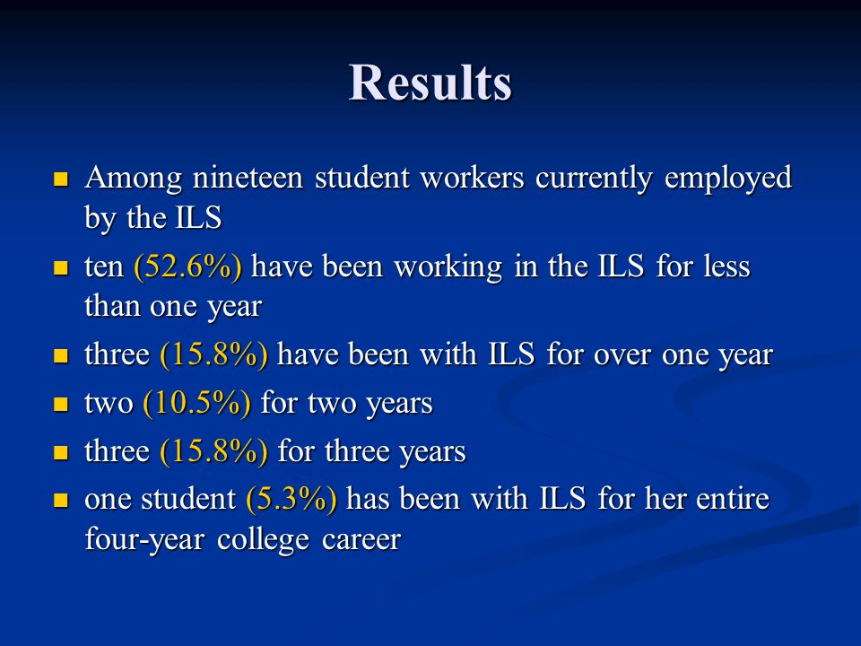 Results Among nineteen student workers currently employed by the ILS Among nineteen student workers currently employed by the ILS ten (52.6%) have bee