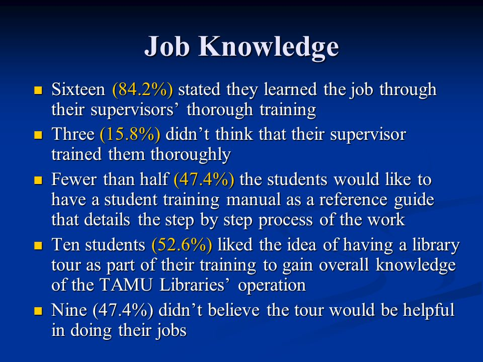 Job Knowledge Sixteen (84.2%) stated they learned the job through their supervisors' thorough training Sixteen (84.2%) stated they learned the job thr