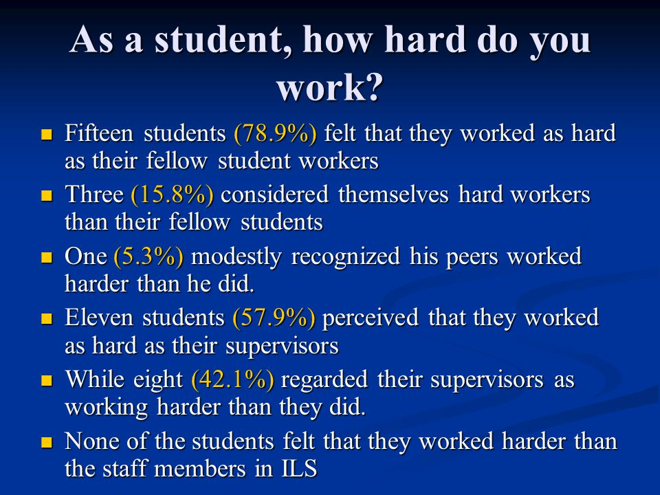 As a student, how hard do you work? Fifteen students (78.9%) felt that they worked as hard as their fellow student workers Fifteen students (78.9%) fe