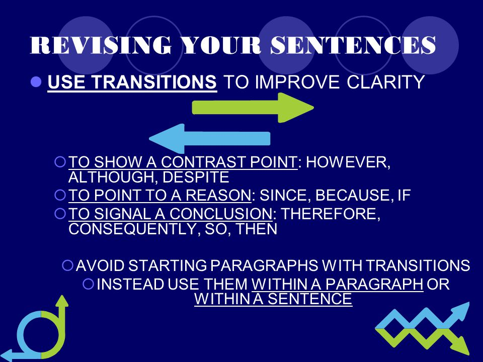 REVISING YOUR SENTENCES USE TRANSITIONS TO IMPROVE CLARITY  TO SHOW A CONTRAST POINT: HOWEVER, ALTHOUGH, DESPITE  TO POINT TO A REASON: SINCE, BECAUSE, IF  TO SIGNAL A CONCLUSION: THEREFORE, CONSEQUENTLY, SO, THEN  AVOID STARTING PARAGRAPHS WITH TRANSITIONS  INSTEAD USE THEM WITHIN A PARAGRAPH OR WITHIN A SENTENCE