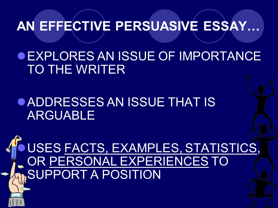 AN EFFECTIVE PERSUASIVE ESSAY… EXPLORES AN ISSUE OF IMPORTANCE TO THE WRITER ADDRESSES AN ISSUE THAT IS ARGUABLE USES FACTS, EXAMPLES, STATISTICS, OR PERSONAL EXPERIENCES TO SUPPORT A POSITION