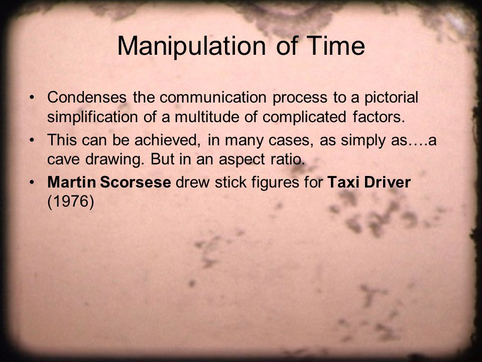 Manipulation of Time Condenses the communication process to a pictorial simplification of a multitude of complicated factors.