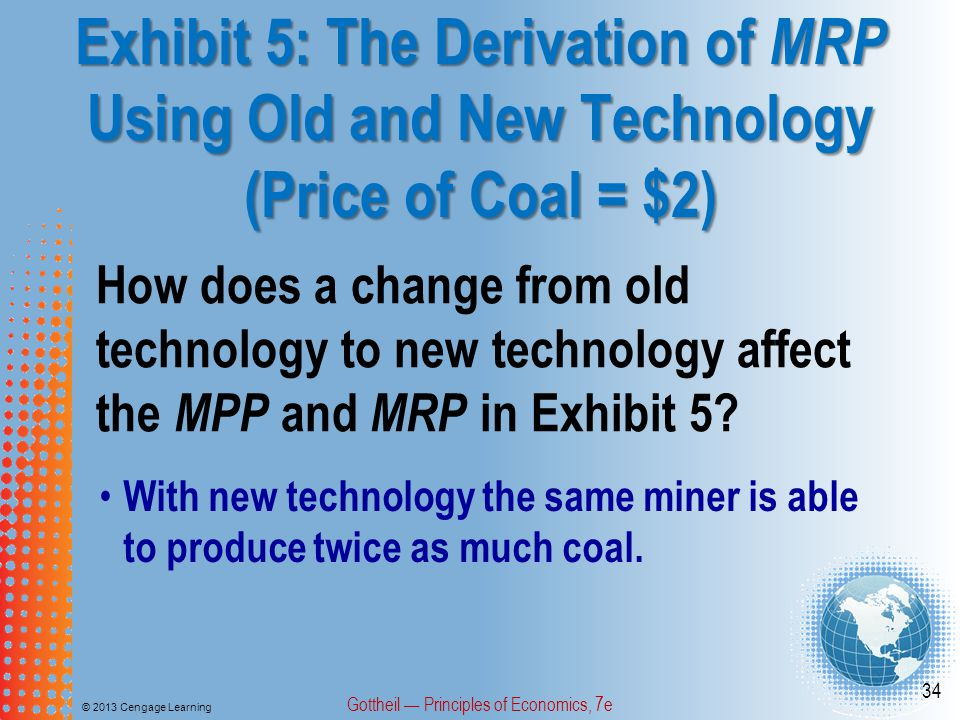 Exhibit 5: The Derivation of MRP Using Old and New Technology (Price of Coal = $2) © 2013 Cengage Learning Gottheil — Principles of Economics, 7e 34 How does a change from old technology to new technology affect the MPP and MRP in Exhibit 5.