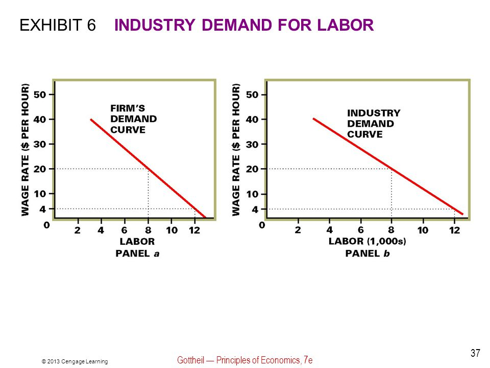 © 2013 Cengage Learning Gottheil — Principles of Economics, 7e 37 EXHIBIT 6INDUSTRY DEMAND FOR LABOR