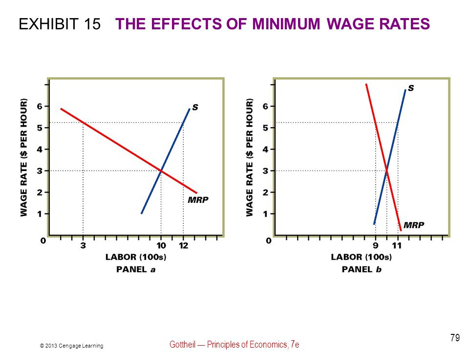 © 2013 Cengage Learning Gottheil — Principles of Economics, 7e 79 EXHIBIT 15THE EFFECTS OF MINIMUM WAGE RATES