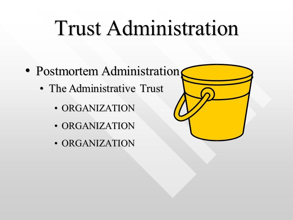 Trust Administration ORGANIZATIONORGANIZATION Postmortem Administration Postmortem Administration The Administrative TrustThe Administrative Trust