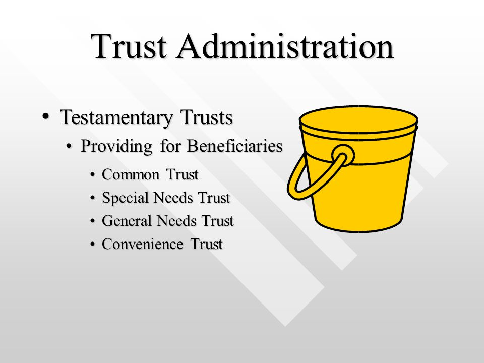 Trust Administration Common TrustCommon Trust Special Needs TrustSpecial Needs Trust General Needs TrustGeneral Needs Trust Convenience TrustConvenience Trust Testamentary Trusts Testamentary Trusts Providing for BeneficiariesProviding for Beneficiaries