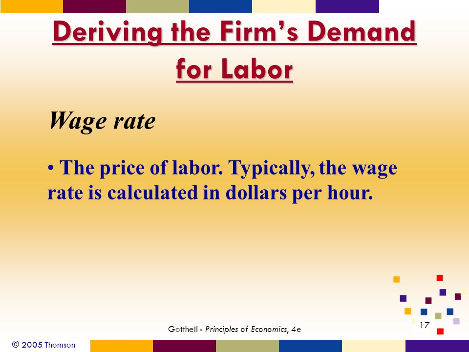 © 2005 Thomson 17 Gottheil - Principles of Economics, 4e Deriving the Firm's Demand for Labor Wage rate The price of labor. Typically, the wage rate i