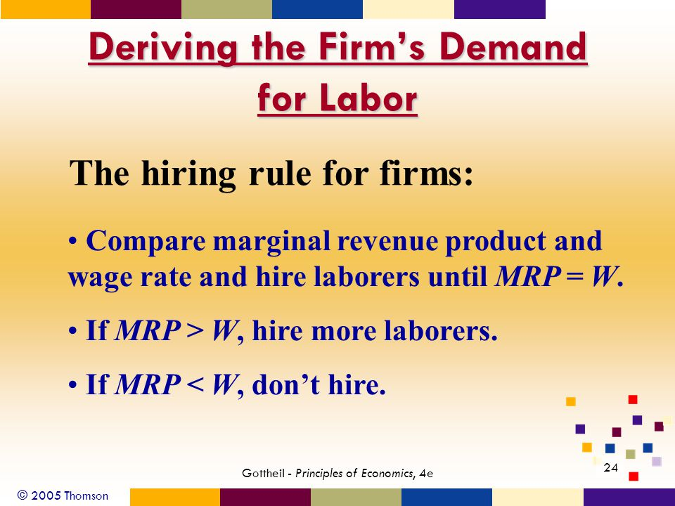 © 2005 Thomson 24 Gottheil - Principles of Economics, 4e Deriving the Firm's Demand for Labor The hiring rule for firms: Compare marginal revenue prod