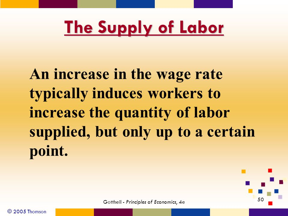 © 2005 Thomson 50 Gottheil - Principles of Economics, 4e The Supply of Labor An increase in the wage rate typically induces workers to increase the qu