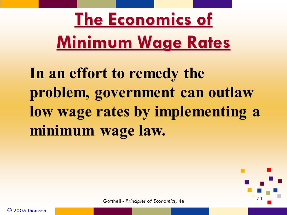 © 2005 Thomson 71 Gottheil - Principles of Economics, 4e The Economics of Minimum Wage Rates In an effort to remedy the problem, government can outlaw