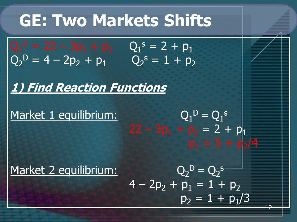 12 GE: Two Markets Shifts Q 1 D = 22 – 3p 1 + p 2 Q 1 s = 2 + p 1 Q 2 D = 4 – 2p 2 + p 1 Q 2 s = 1 + p 2 1) Find Reaction Functions Market 1 equilibrium: Q 1 D = Q 1 s 22 – 3p 1 + p 2 = 2 + p 1 p 1 = 5 + p 2 /4 Market 2 equilibrium: Q 2 D = Q 2 s 4 – 2p 2 + p 1 = 1 + p 2 p 2 = 1 + p 1 /3