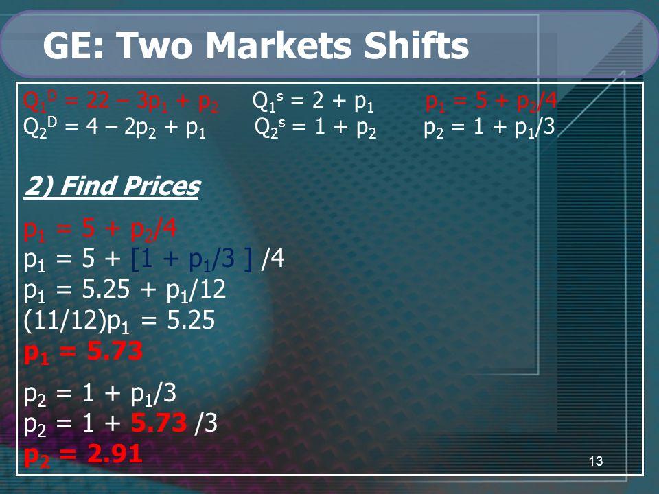 13 GE: Two Markets Shifts Q 1 D = 22 – 3p 1 + p 2 Q 1 s = 2 + p 1 p 1 = 5 + p 2 /4 Q 2 D = 4 – 2p 2 + p 1 Q 2 s = 1 + p 2 p 2 = 1 + p 1 /3 2) Find Prices p 1 = 5 + p 2 /4 p 1 = 5 + [1 + p 1 /3 ] /4 p 1 = 5.25 + p 1 /12 (11/12)p 1 = 5.25 p 1 = 5.73 p 2 = 1 + p 1 /3 p 2 = 1 + 5.73 /3 p 2 = 2.91