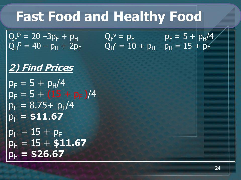 24 Fast Food and Healthy Food Q F D = 20 –3p F + p H Q F s = p F p F = 5 + p H /4 Q H D = 40 – p H + 2p F Q H s = 10 + p H p H = 15 + p F 2) Find Prices p F = 5 + p H /4 p F = 5 + (15 + p F )/4 p F = 8.75+ p F /4 p F = $11.67 p H = 15 + p F p H = 15 + $11.67 p H = $26.67