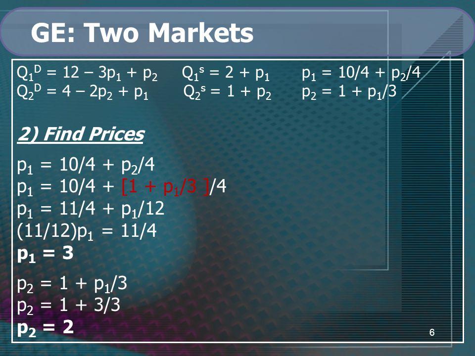 6 GE: Two Markets Q 1 D = 12 – 3p 1 + p 2 Q 1 s = 2 + p 1 p 1 = 10/4 + p 2 /4 Q 2 D = 4 – 2p 2 + p 1 Q 2 s = 1 + p 2 p 2 = 1 + p 1 /3 2) Find Prices p 1 = 10/4 + p 2 /4 p 1 = 10/4 + [1 + p 1 /3 ]/4 p 1 = 11/4 + p 1 /12 (11/12)p 1 = 11/4 p 1 = 3 p 2 = 1 + p 1 /3 p 2 = 1 + 3/3 p 2 = 2