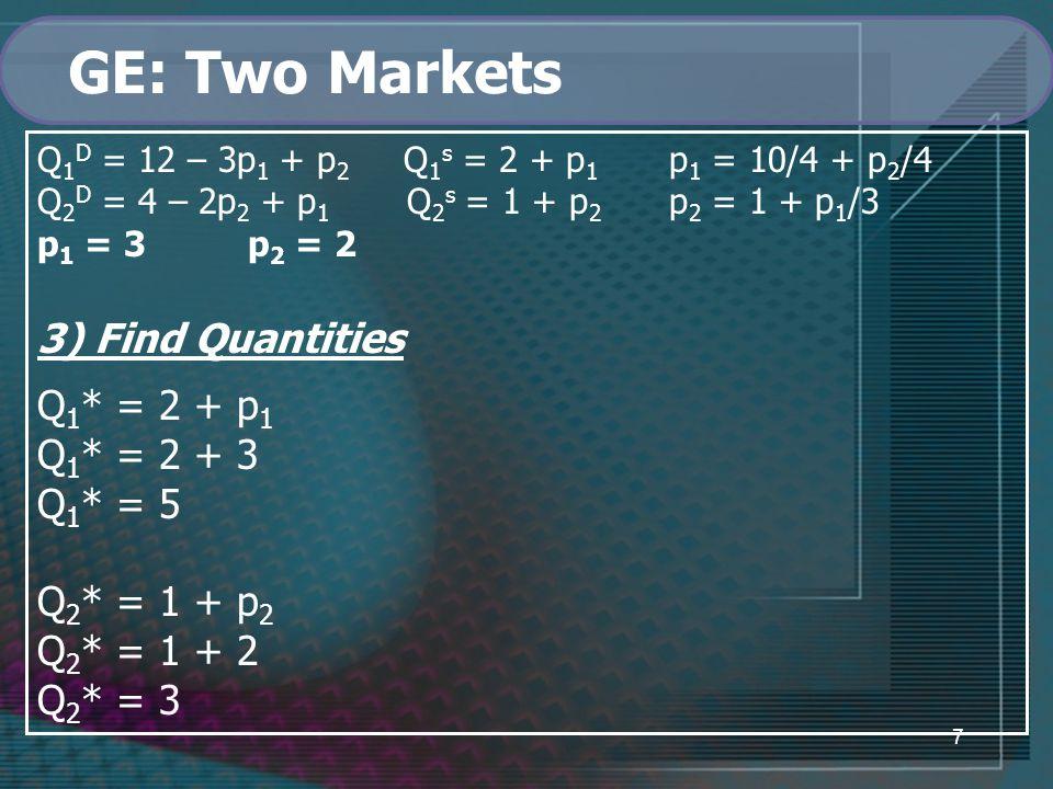 7 GE: Two Markets Q 1 D = 12 – 3p 1 + p 2 Q 1 s = 2 + p 1 p 1 = 10/4 + p 2 /4 Q 2 D = 4 – 2p 2 + p 1 Q 2 s = 1 + p 2 p 2 = 1 + p 1 /3 p 1 = 3p 2 = 2 3) Find Quantities Q 1 * = 2 + p 1 Q 1 * = 2 + 3 Q 1 * = 5 Q 2 * = 1 + p 2 Q 2 * = 1 + 2 Q 2 * = 3