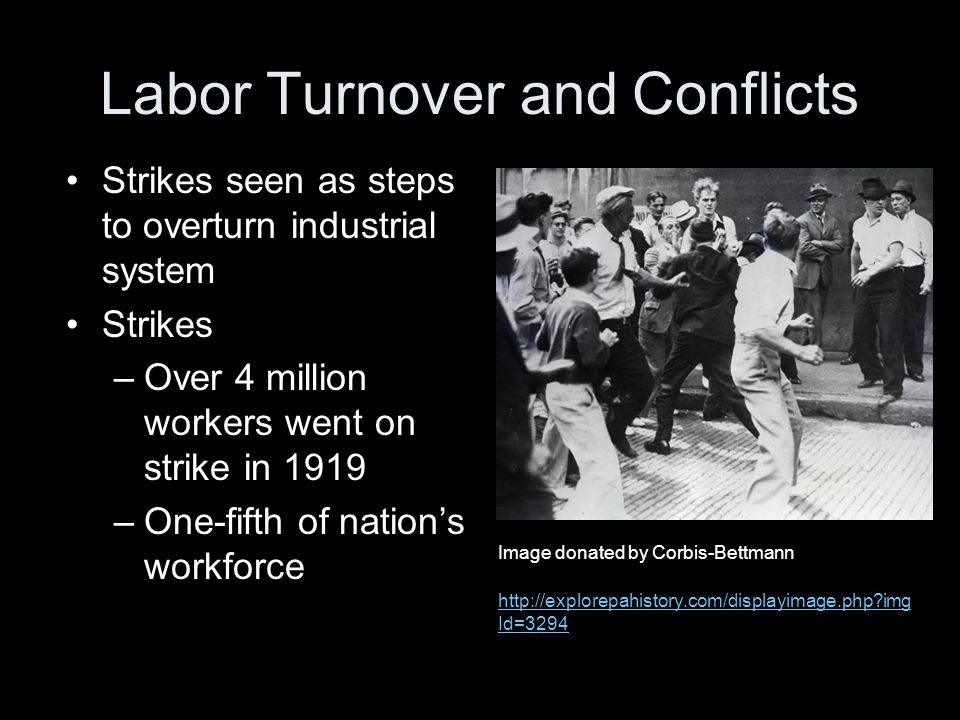 Labor's demands –Union recognition –Shorter hours –Raises exceeding the inflation rate Labor Turnover and Conflicts Image donated by Corbis-Bettmann http://explorepahistory.com/displayimage.php?img Id=3294