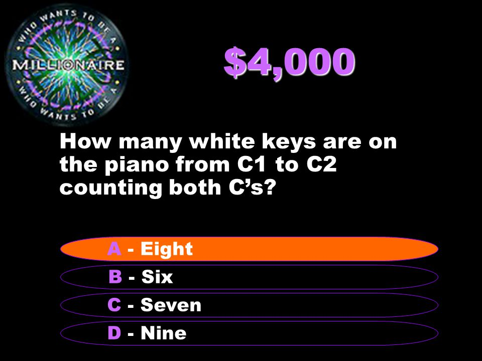 $4,000 How many white keys are on the piano from C1 to C2 counting both C's.