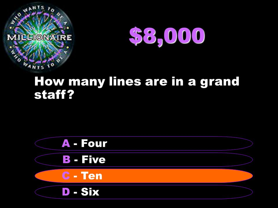 $8,000 How many lines are in a grand staff B - Five A - Four C - Ten D - Six C - Ten