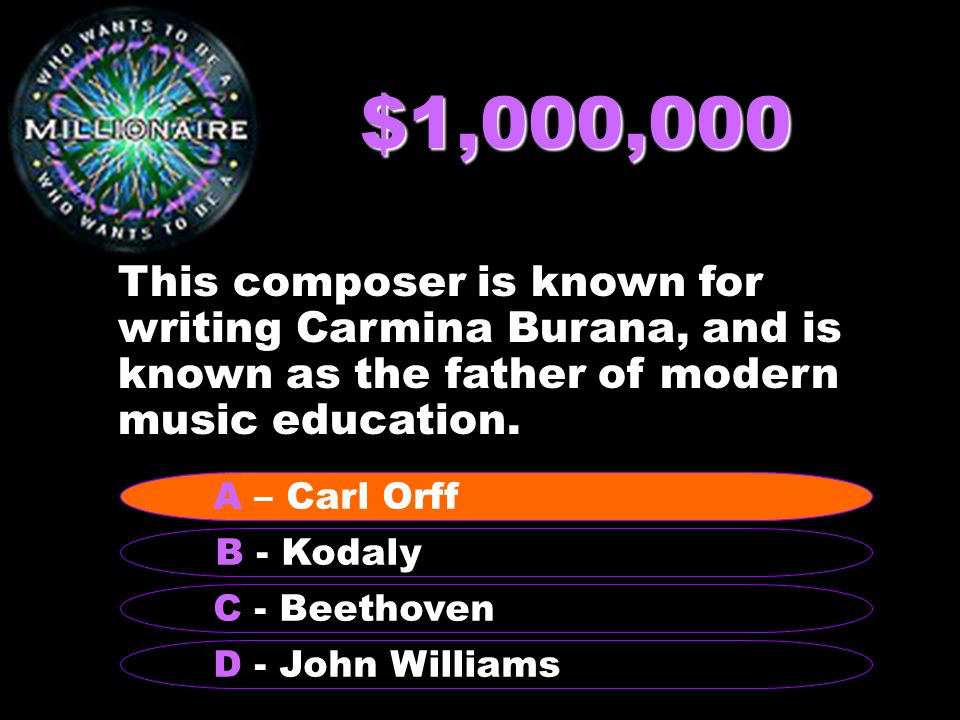 $1,000,000 This composer is known for writing Carmina Burana, and is known as the father of modern music education.