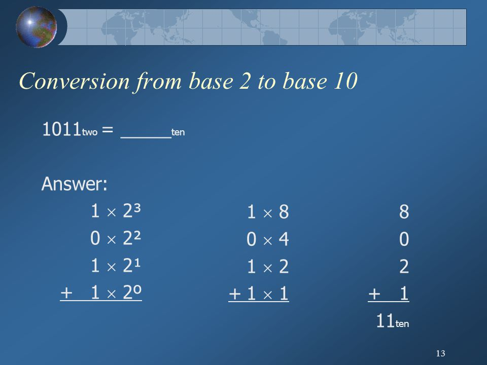 13 Conversion from base 2 to base 10 1011 two = _____ ten Answer: 1  2³ 0  2² 1  2¹ +1  2º 1  8 0  4 1  2 +1  1 8 0 2 + 1 11 ten