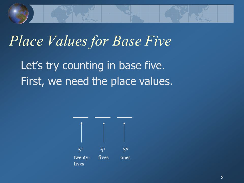 5 Place Values for Base Five Let's try counting in base five. First, we need the place values. _ _ _ _ _ _ twenty- fives fivesones 5¹5¹5²5²5º5º