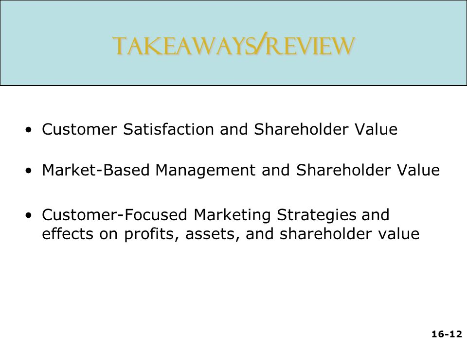 16-12 Takeaways / Review Customer Satisfaction and Shareholder Value Market-Based Management and Shareholder Value Customer-Focused Marketing Strategies and effects on profits, assets, and shareholder value