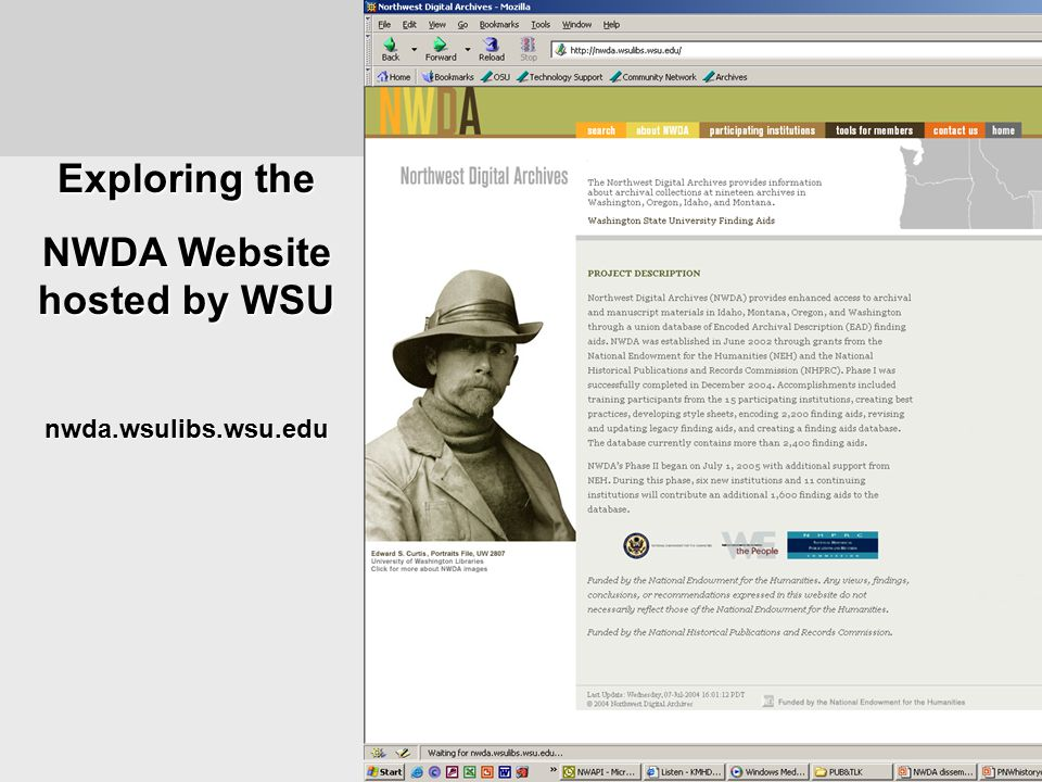 Exploring the NWDA Website hosted by WSU nwda.wsulibs.wsu.edu