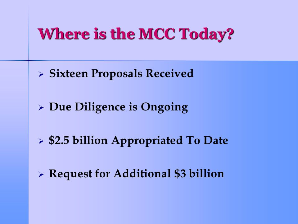 Where is the MCC Today.