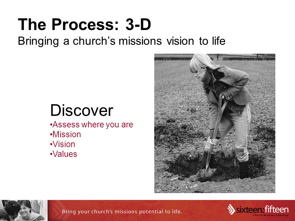 The Process: 3-D Bringing a church's missions vision to life Discover Assess where you are Mission Vision Values