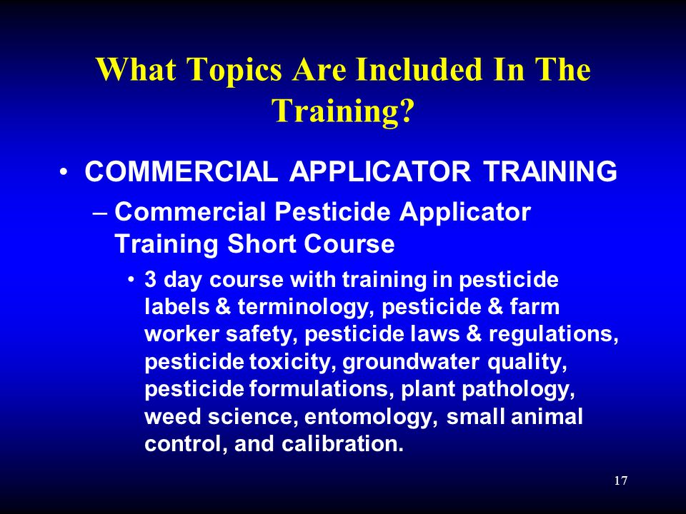 17 What Topics Are Included In The Training.