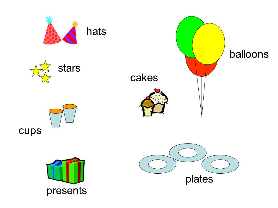 hats stars cups presents balloons cakes plates