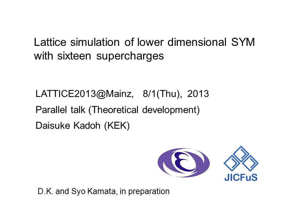 LATTICE2013@Mainz, 8/1(Thu), 2013 Parallel talk (Theoretical development) Daisuke Kadoh (KEK) D.K.