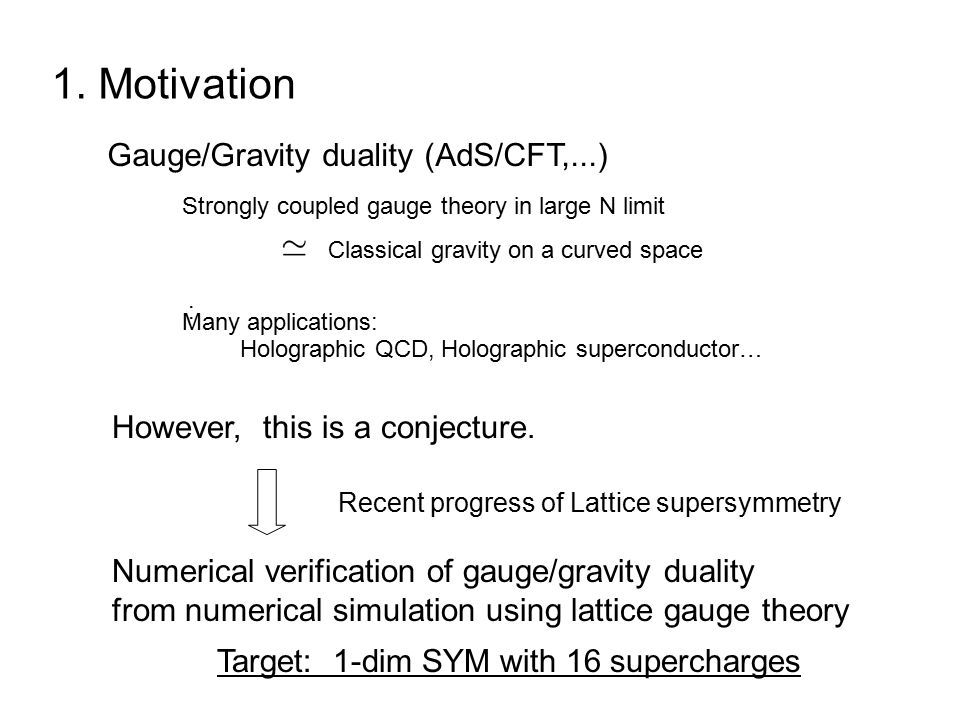1. Motivation Recent progress of Lattice supersymmetry Gauge/Gravity duality (AdS/CFT,...) Holographic QCD, Holographic superconductor… However, this