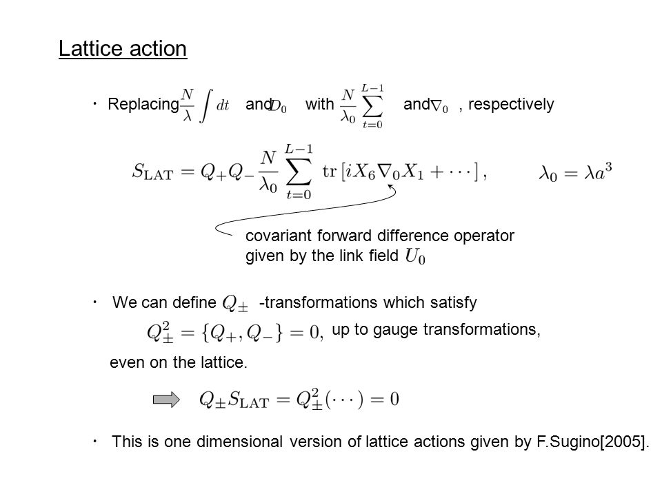 Lattice action covariant forward difference operator given by the link field ・ Replacing and with and, respectively ・ We can define -transformations which satisfy even on the lattice.