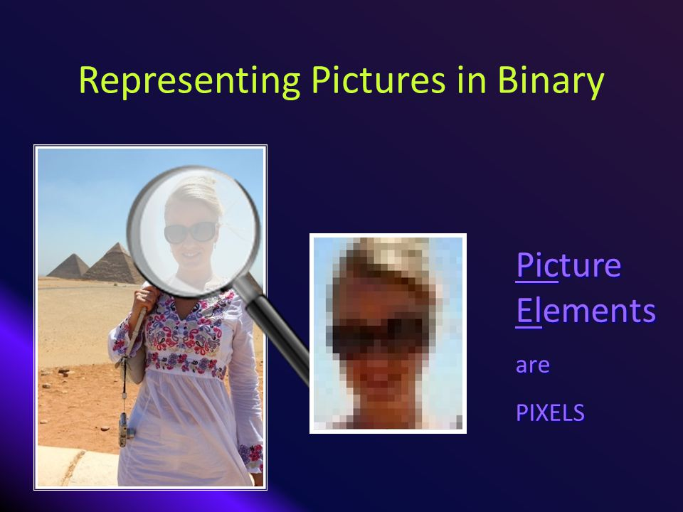 Representing Pictures in Binary Picture Elements arePIXELS