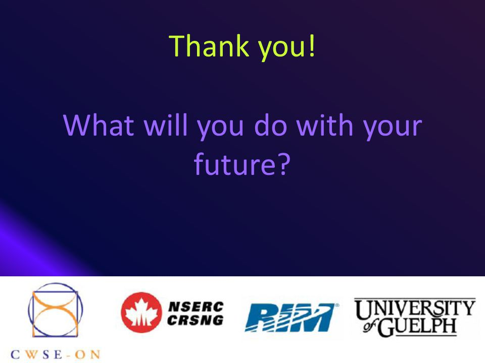 Thank you! What will you do with your future?