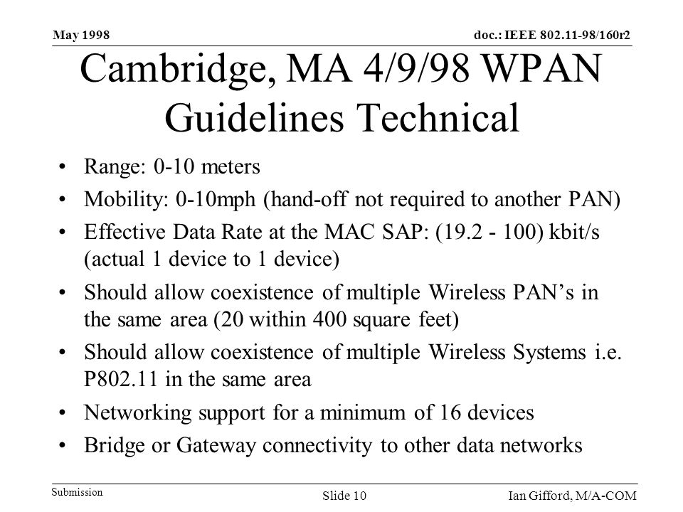 doc.: IEEE 802.11-98/160r2 Submission May 1998 Ian Gifford, M/A-COMSlide 10 Cambridge, MA 4/9/98 WPAN Guidelines Technical Range: 0-10 meters Mobility: 0-10mph (hand-off not required to another PAN) Effective Data Rate at the MAC SAP: (19.2 - 100) kbit/s (actual 1 device to 1 device) Should allow coexistence of multiple Wireless PAN's in the same area (20 within 400 square feet) Should allow coexistence of multiple Wireless Systems i.e.