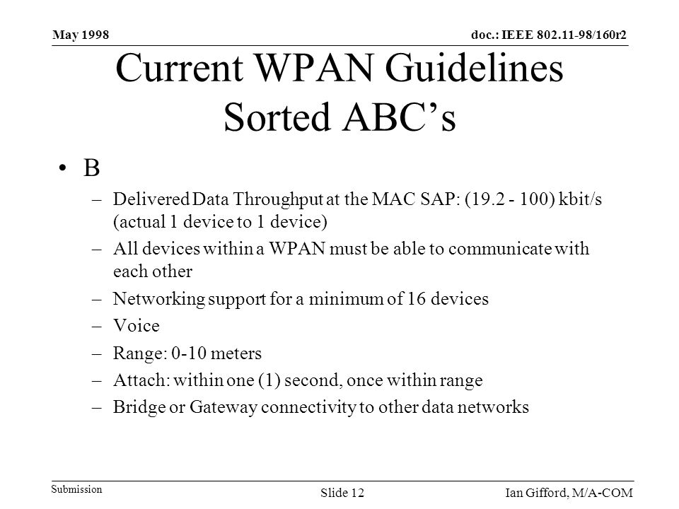 doc.: IEEE 802.11-98/160r2 Submission May 1998 Ian Gifford, M/A-COMSlide 12 Current WPAN Guidelines Sorted ABC's B –Delivered Data Throughput at the MAC SAP: (19.2 - 100) kbit/s (actual 1 device to 1 device) –All devices within a WPAN must be able to communicate with each other –Networking support for a minimum of 16 devices –Voice –Range: 0-10 meters –Attach: within one (1) second, once within range –Bridge or Gateway connectivity to other data networks