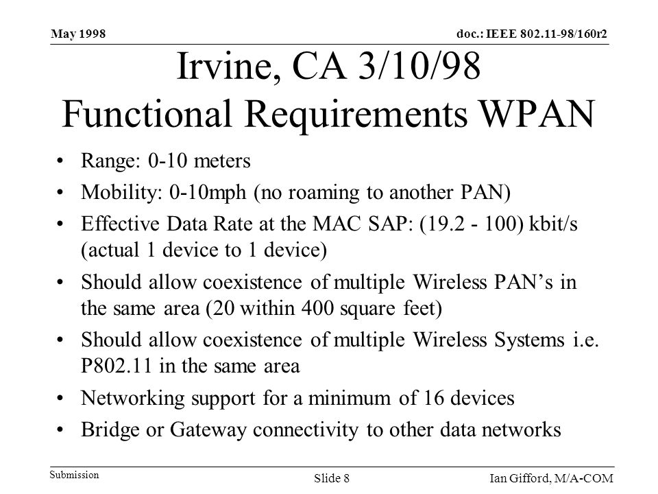 doc.: IEEE 802.11-98/160r2 Submission May 1998 Ian Gifford, M/A-COMSlide 8 Irvine, CA 3/10/98 Functional Requirements WPAN Range: 0-10 meters Mobility