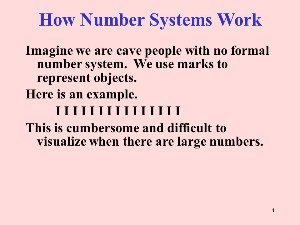 How Number Systems Work Imagine we are cave people with no formal number system.
