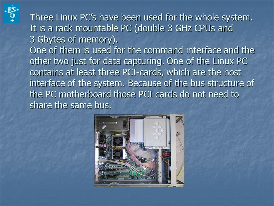 Three Linux PC's have been used for the whole system.