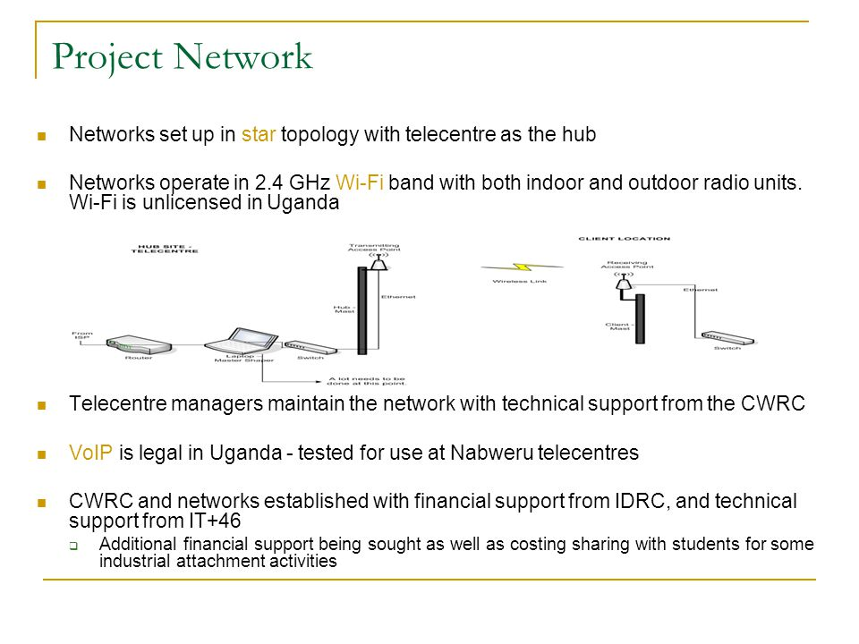 Project Network Networks set up in star topology with telecentre as the hub Networks operate in 2.4 GHz Wi-Fi band with both indoor and outdoor radio units.