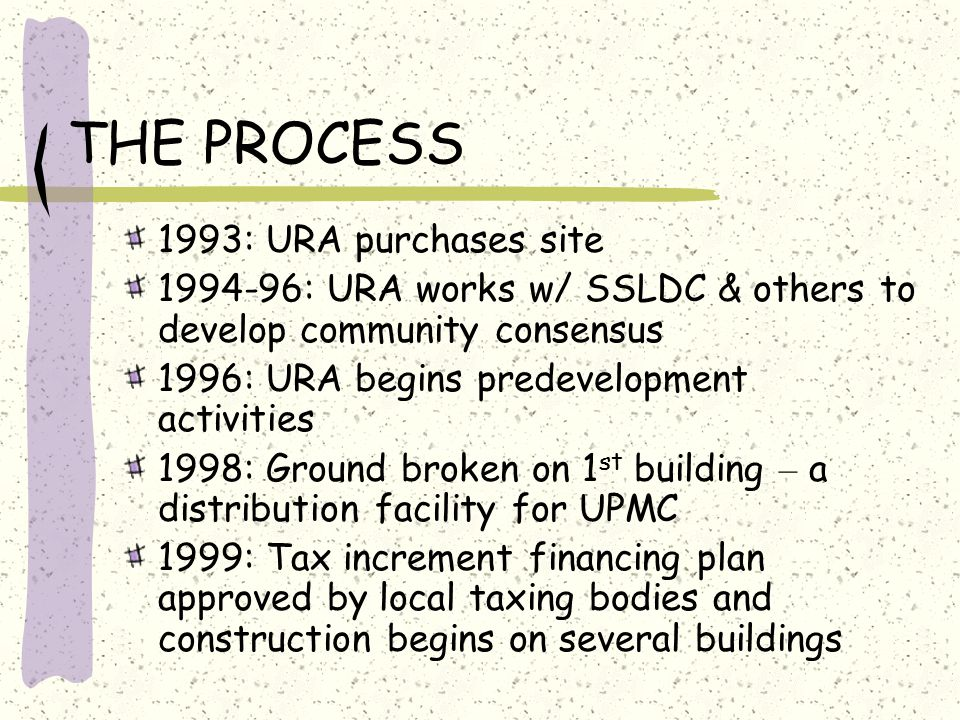 THE PROCESS 1993: URA purchases site 1994-96: URA works w/ SSLDC & others to develop community consensus 1996: URA begins predevelopment activities 1998: Ground broken on 1 st building – a distribution facility for UPMC 1999: Tax increment financing plan approved by local taxing bodies and construction begins on several buildings