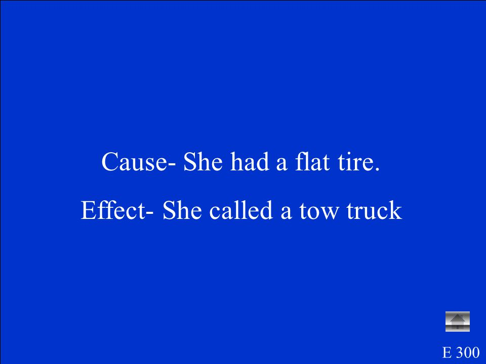 Erin s car had a flat tire, so she called a tow truck.
