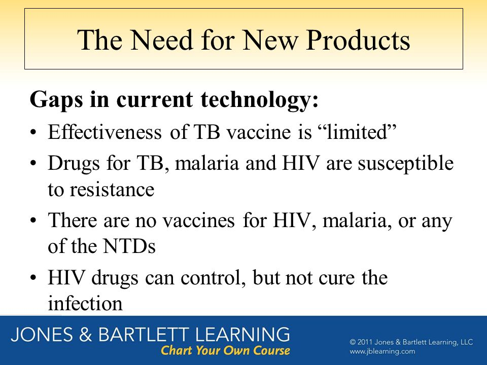 The Need for New Products Gaps in current technology: Effectiveness of TB vaccine is limited Drugs for TB, malaria and HIV are susceptible to resistance There are no vaccines for HIV, malaria, or any of the NTDs HIV drugs can control, but not cure the infection