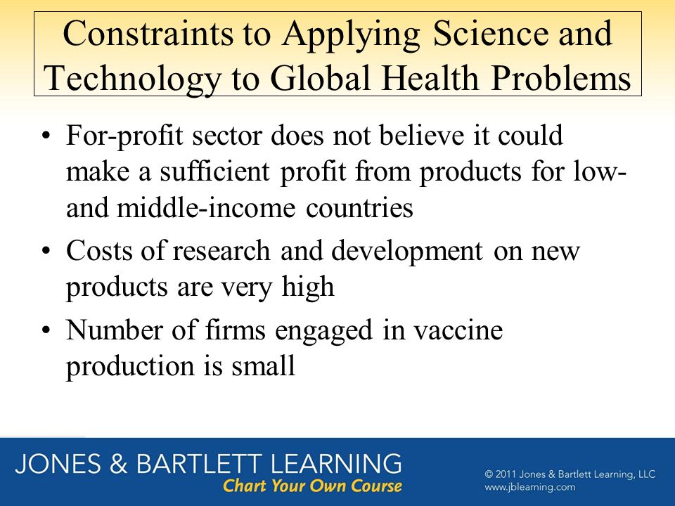 Constraints to Applying Science and Technology to Global Health Problems For-profit sector does not believe it could make a sufficient profit from products for low- and middle-income countries Costs of research and development on new products are very high Number of firms engaged in vaccine production is small